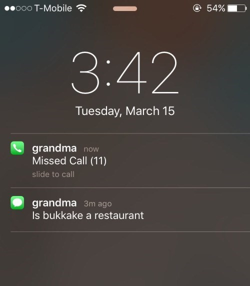 grandma calls about bukkake