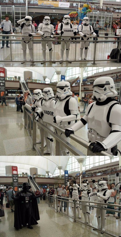 stormtroopers picking up darth vader at airport