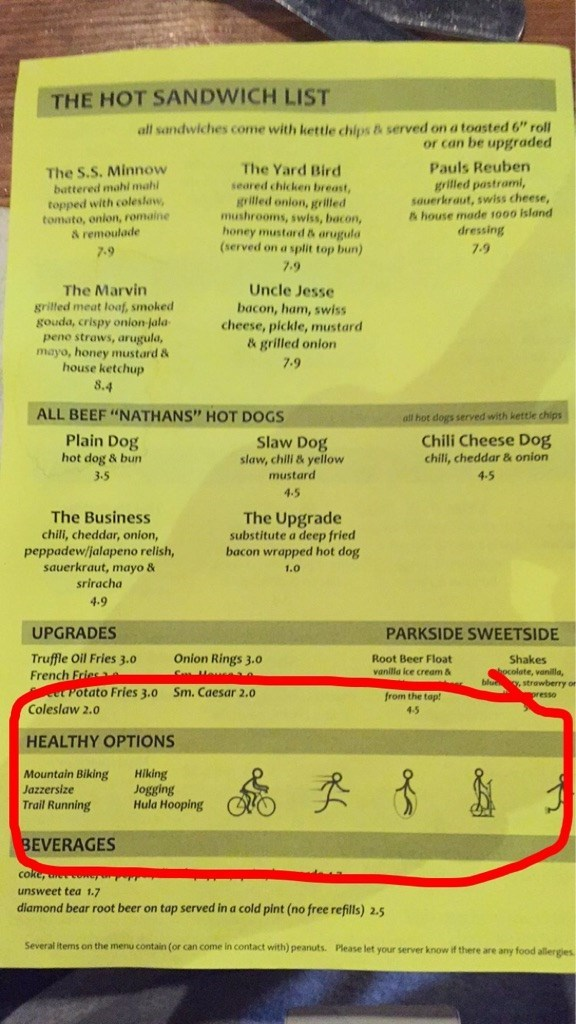 funny healthy menu options