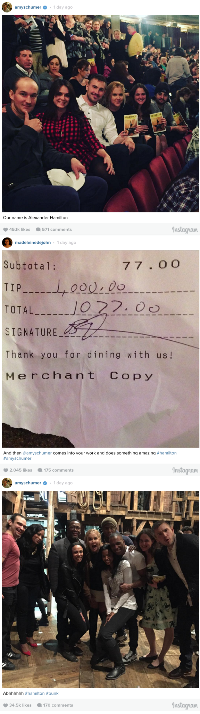 win Amy Schumer leaves Hamilton bartender a great tip