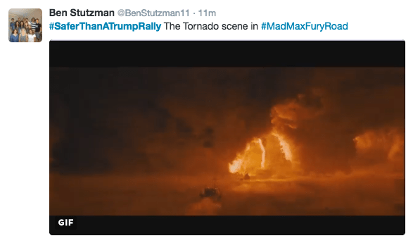 Sky - Ben Stutzman @BenStutzman11 11m #SaferThanATrumpRally The Tornado scene in #MadMaxFuryRoad GIF
