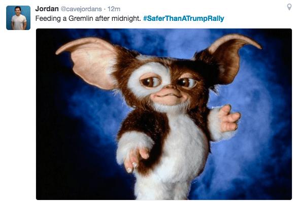 Text - Jordan @cavejordans 12m Feeding a Gremlin after midnight. #SaferThanATrumpRally O