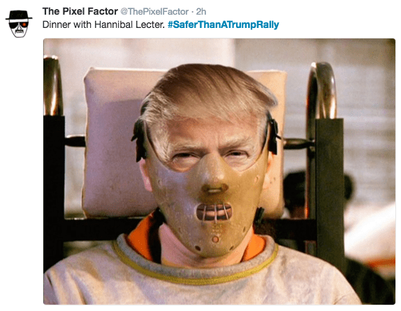 Face - The Pixel Factor @ThePixelFactor 2h Dinner with Hannibal Lecter. #SaferThanATrumpRally