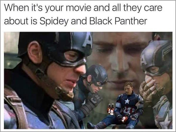 captain america spider man black panther Sorry, Cap. You're Old News