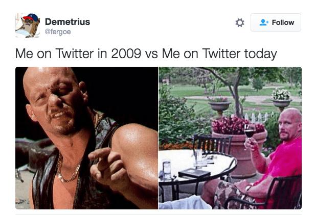 Adaptation - Demetrius Follow @fergoe Me on Twitter in 2009 vs Me on Twitter today