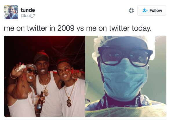 Face - tunde Follow @taut 7 me on twitter in 2009 vs me on twitter today