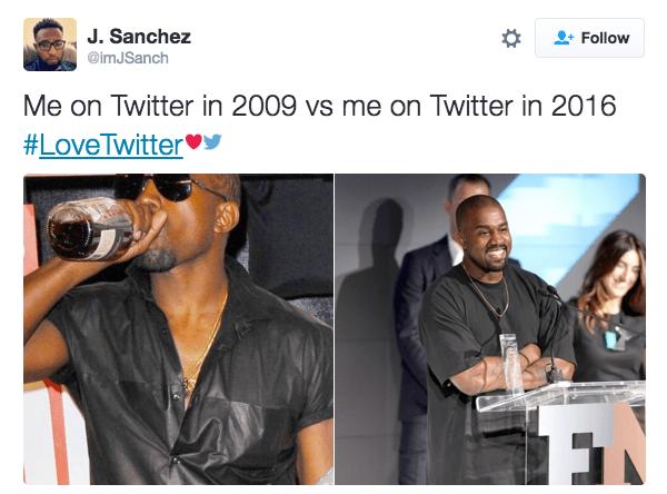 Product - J. Sanchez Follow @imJSanch Me on Twitter in 2009 vs me on Twitter in 2016 #LoveTwitter