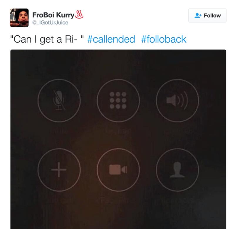 """Text - FroBoi Kurry @_IGotUrJuice Follow """"Can I get a Ri- """" #callended #folloback"""