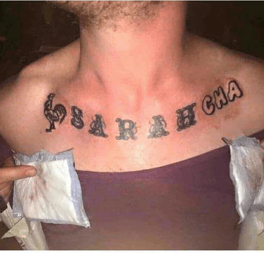 funny dating image sriracha covers up ex girlfriend name tattoo
