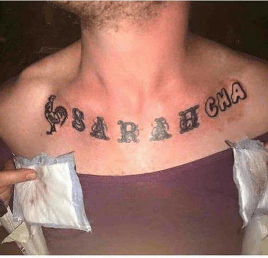funny dating image sriracha covers up ex girlfriend name tattoo