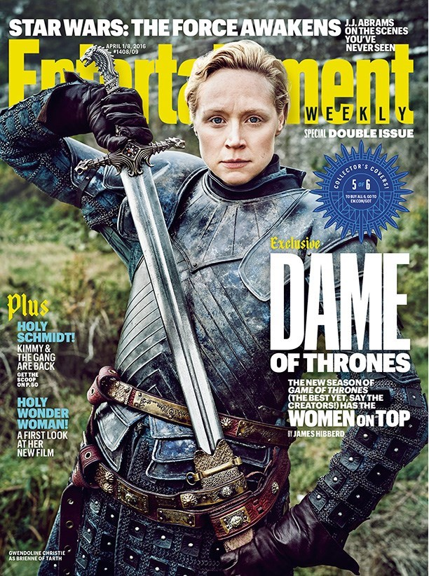 Magazine - STARWARS: THE FORCEAWAKENS J.J.ABRAMS ONTHESCENES YOU'VE NEVERSEEN APRIL 1/8, 2016 1408/09 WEEKLY SPECIAL DOUBLE ISSUE COLLECTORS 5OF 6 TO BUY ALL&GO T0 DNCOMSOT Exensive DAME Plus HOLY SCHMIDT! KIMMY& THE GANG ARE BACK OF THRONES ОЕT THE SCOOP ONP.50 THENEW SEASONOF GAME OF THRONES (THE BEST YET, SAY THE CREATORS!) HAS THE HOLY WONDER WOMAN! A FIRST LOOK AT HER NEW FILM WOMEN ON TOP BYJAMES HIBBERD GWENDOLINE CHRISTIE AS BRIENNE OF TARTH COVERS