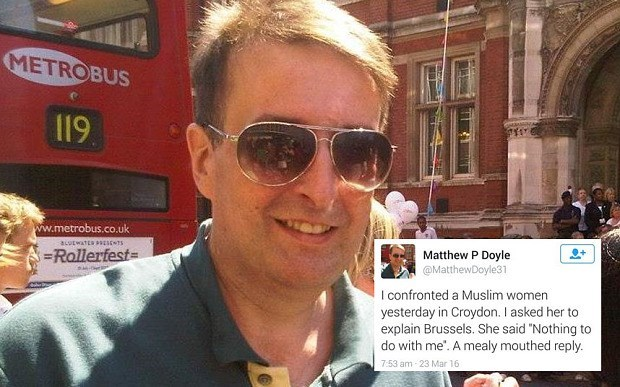 twitter racism karma London Man Arrested for Hateful Tweets After 'Confronting' a Muslim Woman About Brussels