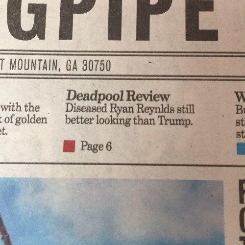 ouch,reviews,deadpool,donald trump