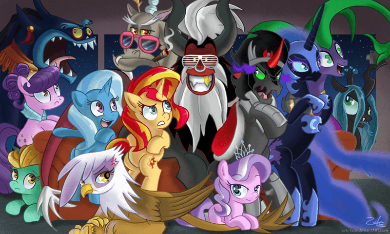 suri polomare,diamond tiara,sombra,the great and powerful trixie,nightmare moon,discord,lightning dust,tirek,ahuizotl,gilda,mane-iac,chrysalis,sunset shimmer