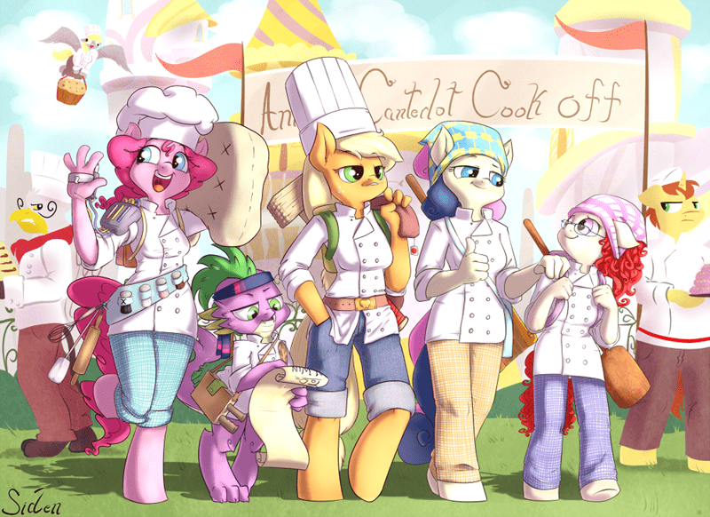 applejack,donut joe,bon bon,derpy hooves,pinkie pie,twist,spike,anthro,gustav la grande