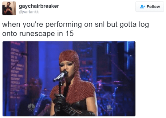 Music artist - gaychairbreaker Follow @vartankk when you're performing on snl but gotta log onto runescape in 15