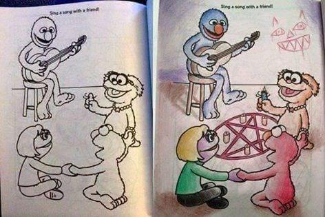 funny memes sesame street coloring book satanic