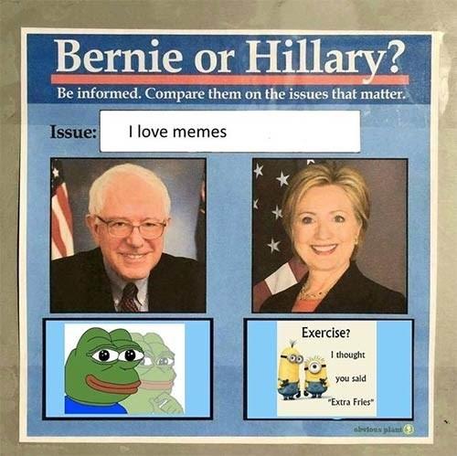 pepe minons Memes bernie vs hillary - 8762089728