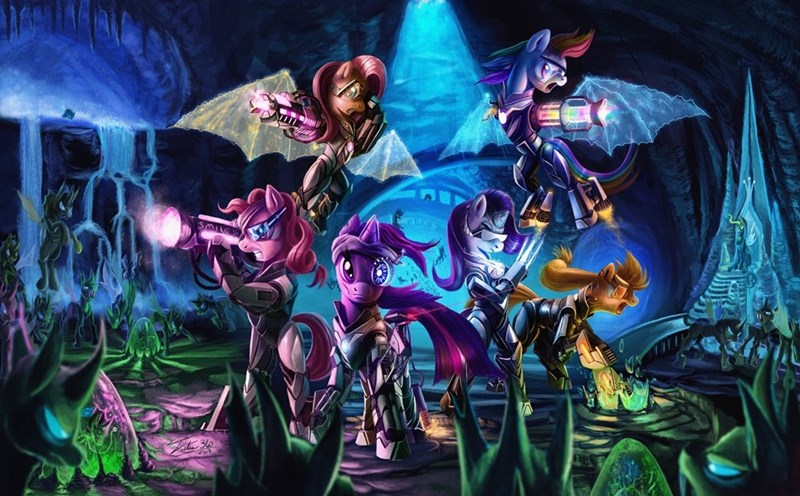 applejack twilight sparkle pinkie pie cyberpunk rarity fluttershy changelings rainbow dash - 8762191616