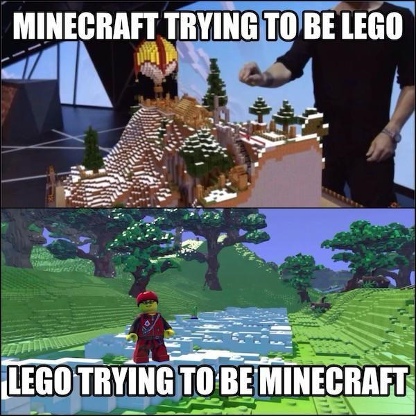 vidoe game memes minecraft and lego being each other