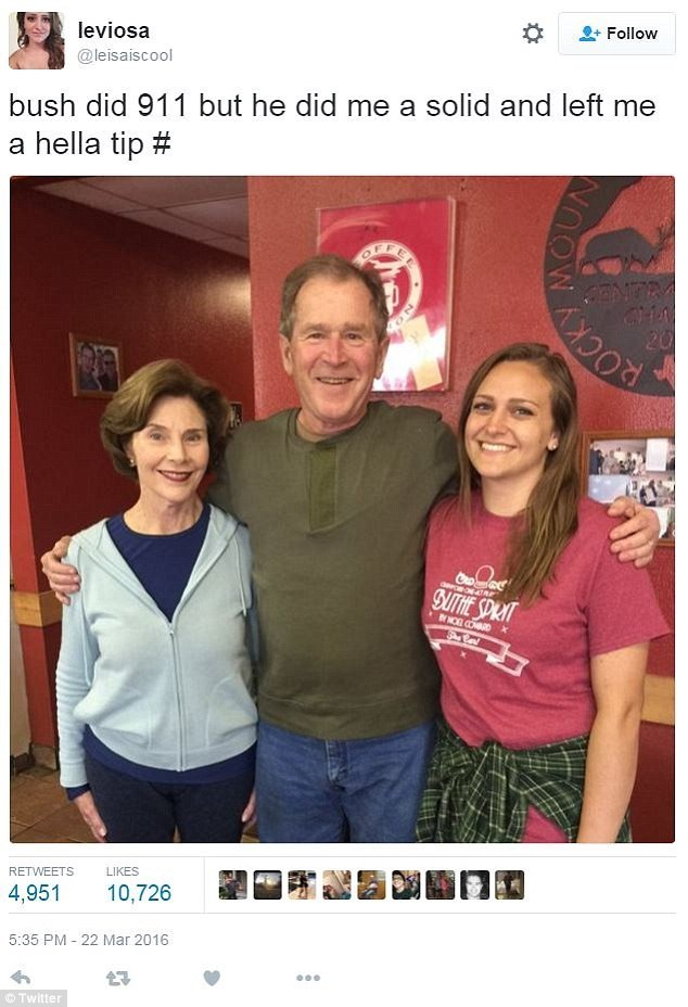 memes george w bush A Waitress Got a Lot of Hate After Tweeting About Her Tip From George W. Bush With a 9/11 Joke