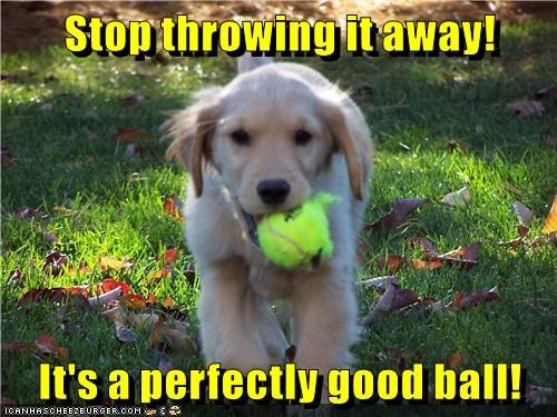 Stop throwing it away! It's a perfectly good ball!