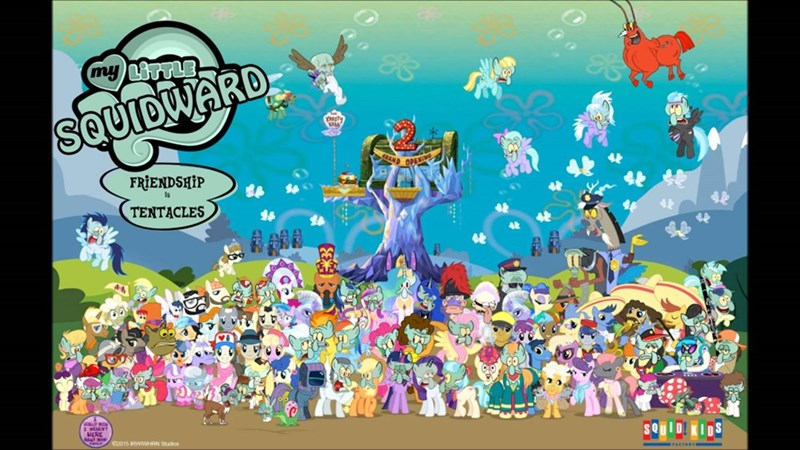 several ponies,SpongeBob SquarePants,several things that aren't ponies,squidward
