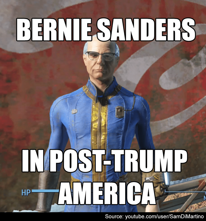 bethesda,fallout,fallout 4,bernie sanders,video games,political pictures,politics