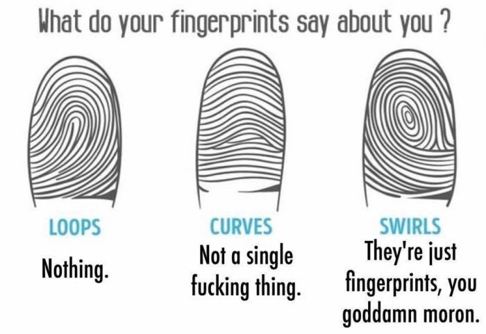 fingerprints personality Weird, in Some States Mine Say That I'm a Wanted Criminal