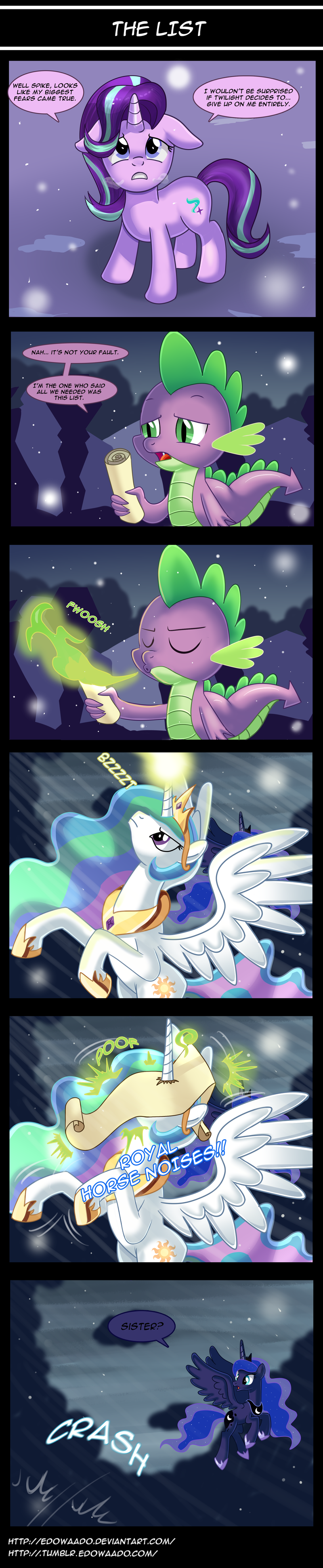 spike,starlight glimmer,the crystalling,princess luna,comic,princess celestia