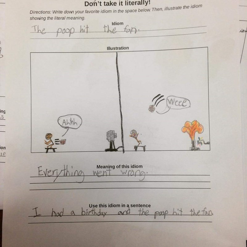 funny school image At Least One Kid Gives a Crap About Idioms