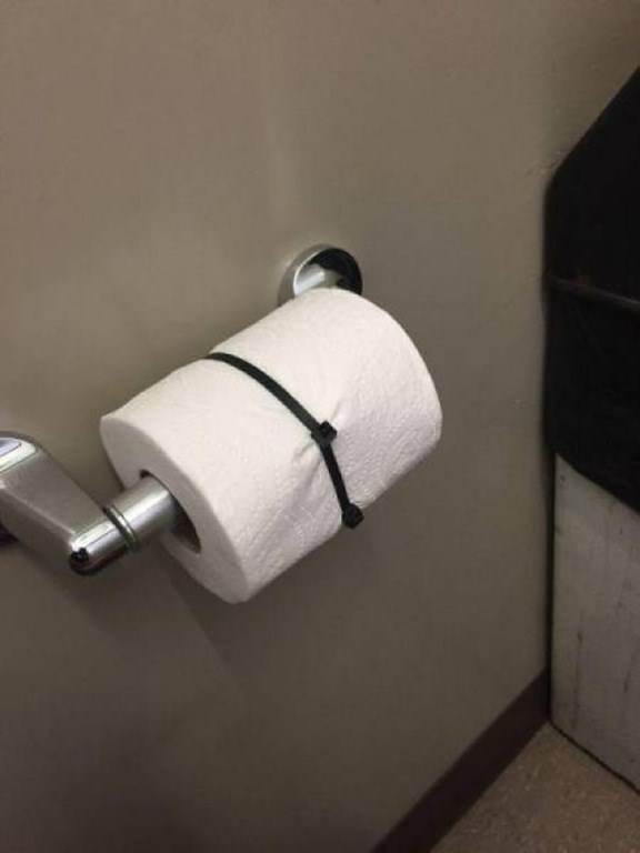 toilet paper trolling zip ties But Why?