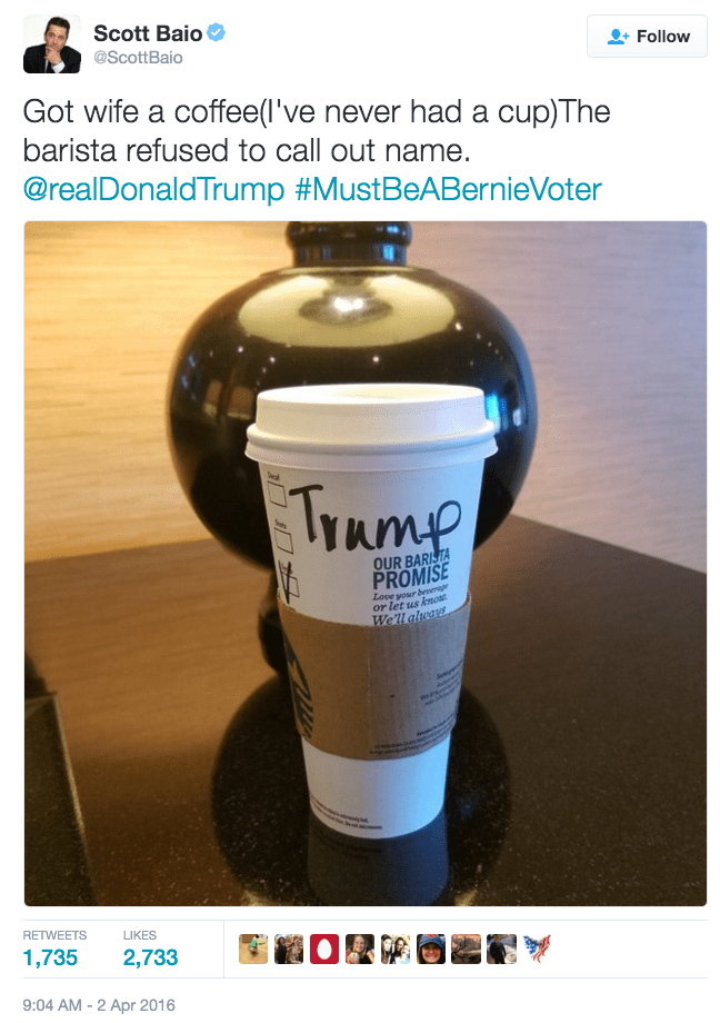 political tweet Scot Baio didn't know starbucks is a liberal company