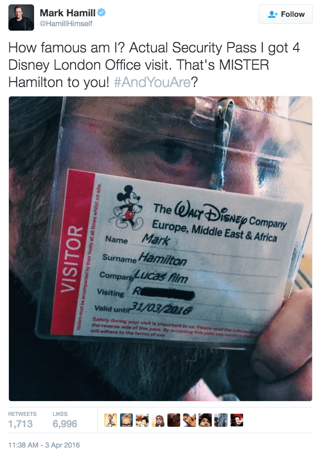 funny fail image Disney misspells Star Wars' Mark Hamill's name on pass