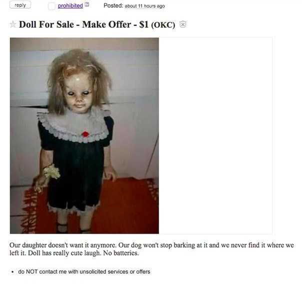 doll evil craigslist This Is One of the Reasons They Say Craigslist Is Dangerous