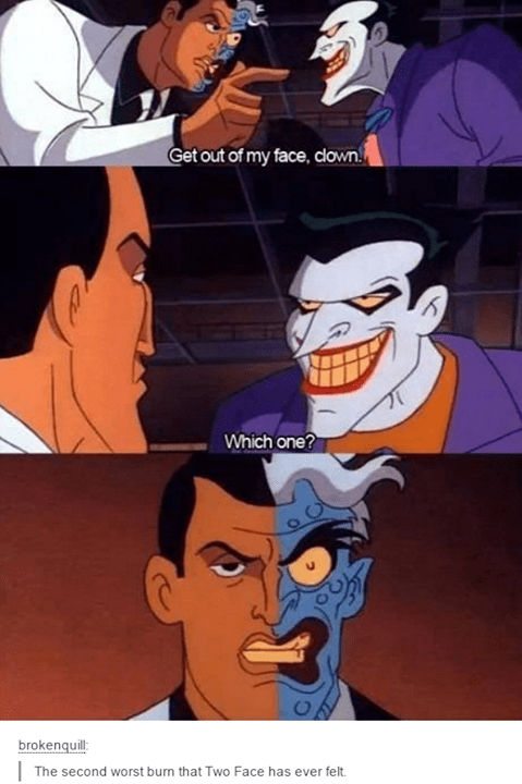 comics-two-face-second-degree-burn-comics-insult-fail