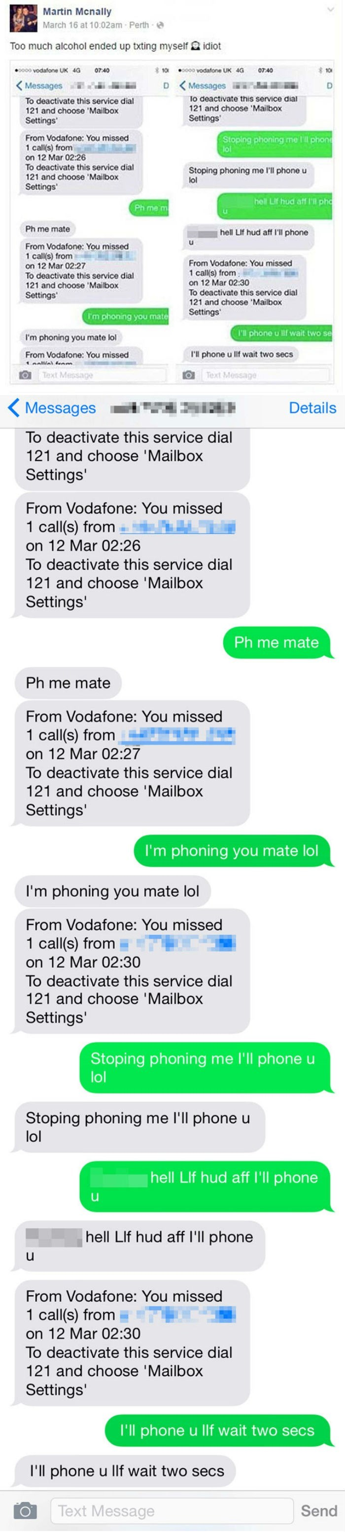 funny fail image drunk bro argues with himself all night via text