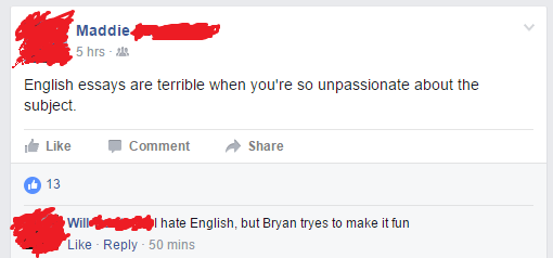 school,english,facebook