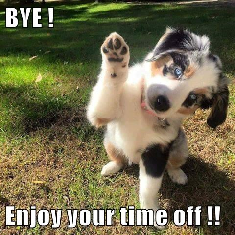 BYE !  Enjoy your time off !!