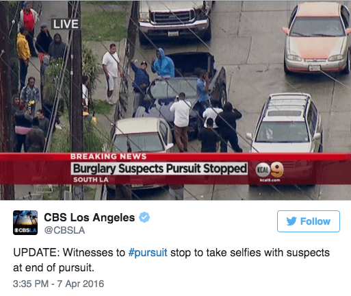 selfie car chase fail A High Speed Chase Through Los Angeles Ended in a Selfie