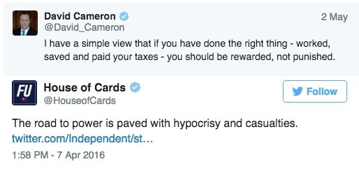 twitter panama politics The Twitter for 'House of Cards' Just Trolled British Prime Minister David Cameron