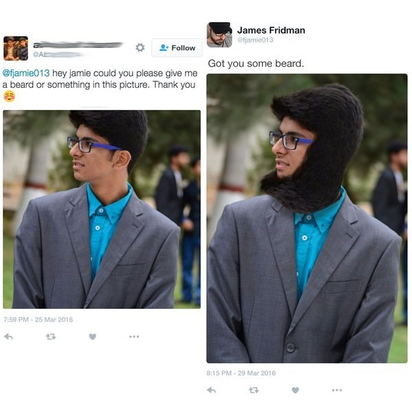 Product - James Fridman efjamie013 Follow CAD Got you some beard. @fjamie013 hey jamie could you please give me a beard or something in this picture. Thank you 7:59 PM-25 Mar 2016 8:15 PM-29 Mar 2016