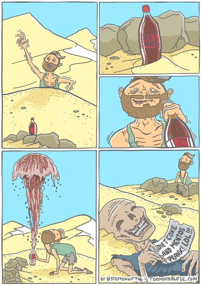 desert,diet coke,skeleton,beach,prank