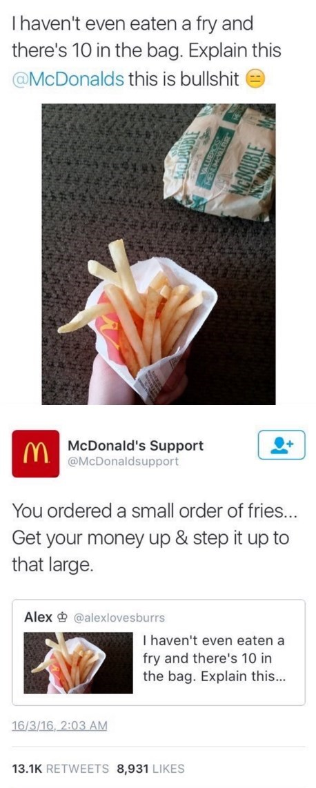 Mcdonalds step up your game small fry