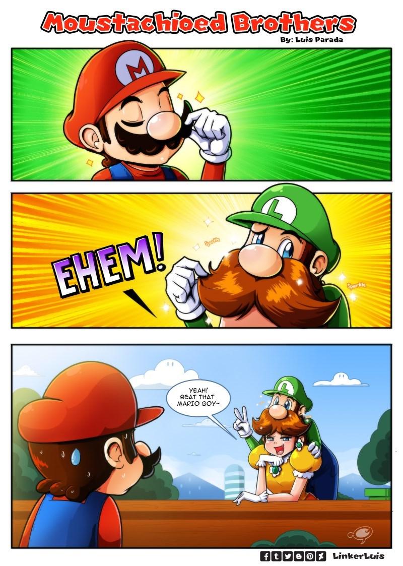 mustache luigi Super Mario bros mario nintendo - 8767418368