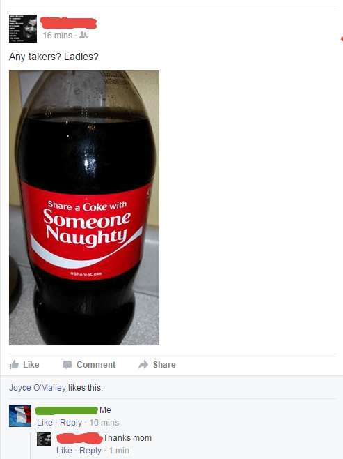 mom facebook coca cola comment