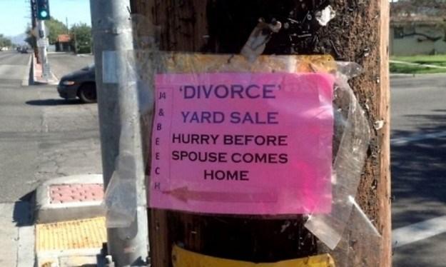 divorce yard sale hurry
