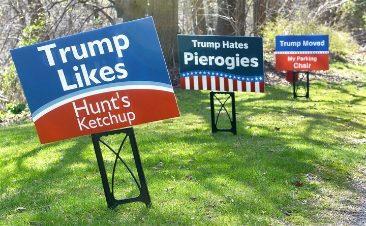 donald trump signs image These Anti-Trump Signs Make 'He Donald' Look Practically Anti-Pittsburgh