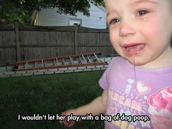 kid cries over dog poop