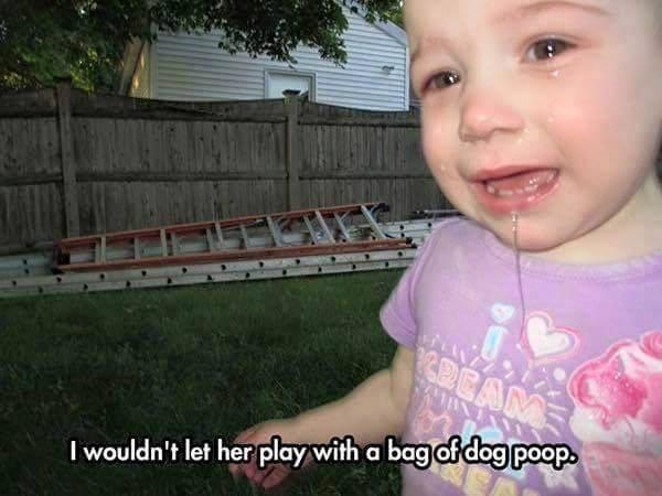 kid cries over dog poop